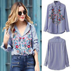 Fashion Colorful Floral Embroidery Casual Stripe Long Sleeve Blouse Shirt Top
