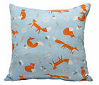 NEW MR FOX POWDER BLUE & ORANGE BOYS SCATTER CUSHION COVER THROW BED SOFA PILLOW