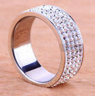 Fashion Mens Women Jewel Rings Stainless Steel Bands Size 5-10 Silver Crystal