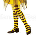 Kids Black & Yellow Striped Tights Girls Fancy Dress Costume Child Bumble Bee