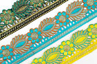 "BY THE YARD Embroidered Trim 2.36"" (06 CM)Wide Woven Border Ribbon Sew  T124"