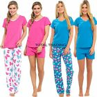 LADIES 2 IN 1 PYJAMAS SUMMER SHORT PJS OR LONG BOTTOM PANTS