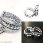 PAIR 316L Steel Bling Bling Pave Gold Silver Tone Huggie Hoop Ear Earrings
