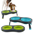 Dexas Double Elevated Collapsible Pet Dog Feeder 1cup Bowls Dishwasher Safe