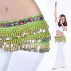New Belly Dance Costume Hip Scarf Belt Velvet  228pcs Golden Coins 9 colors