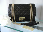NWT MICHAEL KORS HANNAH Black QUILTED LEATHER SHOULDER FLAP BAG CROSSBODY