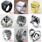 Mens Stainless Steel Band Heavy Ring Biker Punk Skull Outlaw Motorcycle Jewelry