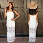 Summer Women Ladies White Lace Off shoulder Strapless Long Dress Beach Sundress
