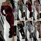 Sexy Womens Clubwear Long Sleeve Pure Color Playsuit  Party Jumpsuit Long Romper