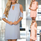 Womens Cold Off Shoulder Blouse T Shirt Top 3/4 Sleeve Short Mini Dress Clubwear