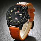 Naviforce Fashion Men 3D Face MILITARY Leather Date Display Quartz Watch I5D9