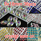 36p color 9x18mm sew on silver flatback crystal navette 2 Holes rhinestones bead