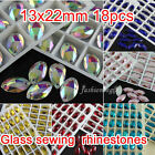 18p 13x22mm sew on color silve flatback 2 hole navette crystal rhinestones stone