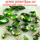 Green Sew On Crystal Cut  glass Rhinestones oval/te​ardr​op Jewels silver plate