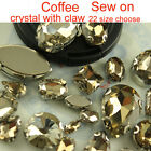 Coffee Sewing On Crystal Faceted flatback oval/teardro​p Rhinestone Jewels stone