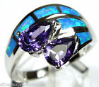 Amethyst and Blue Fire Opal Inlay 925 Sterling Silver Ring size 6-9