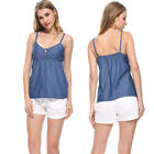 Womens Sleeveless Jean T-shirt Casual Blouse Summer Tops Loose Denim Shirts