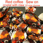 Brown Sew On Crystal Faceted glass flatback Rhinestone jewels beads silver plate