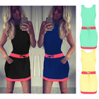Womens Sleeveless Short Mini Dress Vest Summer Beach Short Top T-Shirt Cocktail