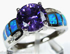 2 ct Amethyst & Blue Fire Opal Inlay 925 Sterling Silver Ring Sz 5,6,7,8,9,10