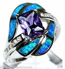 Princess Cut Amethyst & Blue Fire Opal Inlay 925 Sterling Silver Ring All Sizes
