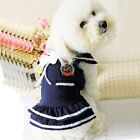 Small Pet Dog  Apparel Navy Dress Puppy Dog Dress Summer Clothes Costume Blue