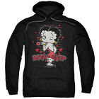 Betty Boop Classic Kiss Mens Pullover Hoodie Black $41.82 USD