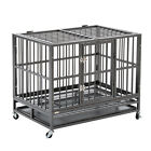 "37"" Heavy Duty Metal Rolling Dog Cage Crate Kennel Black/Silver Grey/Golden New"