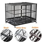 """37"""" Heavy Duty Metal Rolling Dog Cage Crate Kennel Black/Silver Grey/Golden New"""