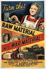 Vintage World War 2 Turn Raw Material Into War Material Poster A3/A2/A1 Print