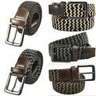 Unisex Casual Elastic Braided PU Leather Buckle Stretch Woven Belt Waistband 43""