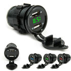 12V 24V Dual USB Port Power Car Cigarette Lighter Socket Plug LED Voltmeter