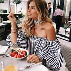 Fashion Women's Off-shoulder Long Sleeve Casual Blouse Loose Cotton Tops T Shirt