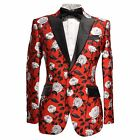 Angelino Valen Men's Two Button Floral Modern Fit Formal Blazer Sport Coat Red