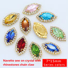 12pcs 7x15mm color navette sew On glass crystal rhinestones Costume Dress button