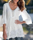 Fashion Women's Hollow Embroidered Lace 3/4 Sleeve Blouse Loose Shirt S-XL White