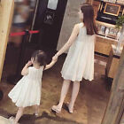 Mother Daughter Dress White Sleeveless Lace Dress Summer Family Match Clothes