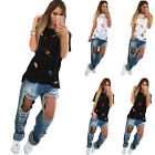 CHEAP SALE! Summer Short Sleeve T Shirt Women Casual Solid Color Ripped Tops New