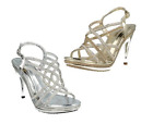 Anne Michelle F10457 X and F10456 R, Silver and Gold High Heeled Sandal Shoe