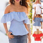 Fashion Women Lady Off Shoulder Ruffled Frill Loose Casual Blouse Shirt Top New