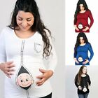 Pregnant Womens Long Sleeve Casual Cotton Blouse T-Shirt Tops Maternity Clothes