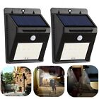 2x20 LED Solar Power PIR Motion Sensor Wall Light Outdoor Waterproof Garden Lamp