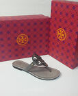 TORY BURCH MILLER CROC EMBOSSED LEATHER LOGO SANDAL IN TAUPE SZ 6 ORIG$225!!!