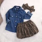 3PCS Newborn Kids Baby Girls Denim T-shirt Tops+Skirt Dress Outfits Clothes Set