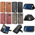 Detachable Magent Flip Wallet Purse Genuine Leather Hard Case Cover For Samsung