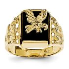 Men'S 14k Yellow Gold Attacking Eagle Onyx Ring