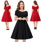 Vintage 1950s Short Sleeve V-Neck Party Evening Gowns Picnic Homecoming Dress