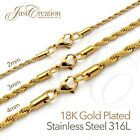 2mm, 3mm, 4mm Stainless Steel 316l Rope Chain Necklace Men Women 18k Gold Plated