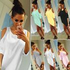 Women Casual 3/4 Sleeve O Neck Solid Loose Pullover Cold Shoulder T-Shirt EFFU01