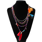 New Fashion Women DIY Retro Handmade Feathers With Bead Long Chain Necklace
